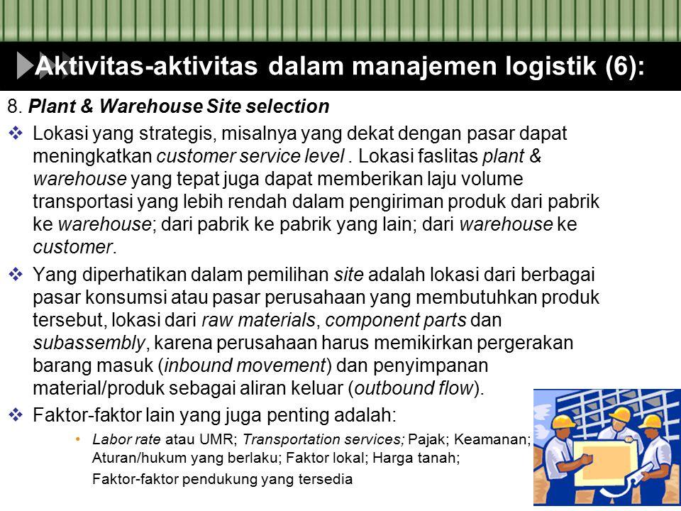 Aktivitas-aktivitas dalam manajemen logistik (6):