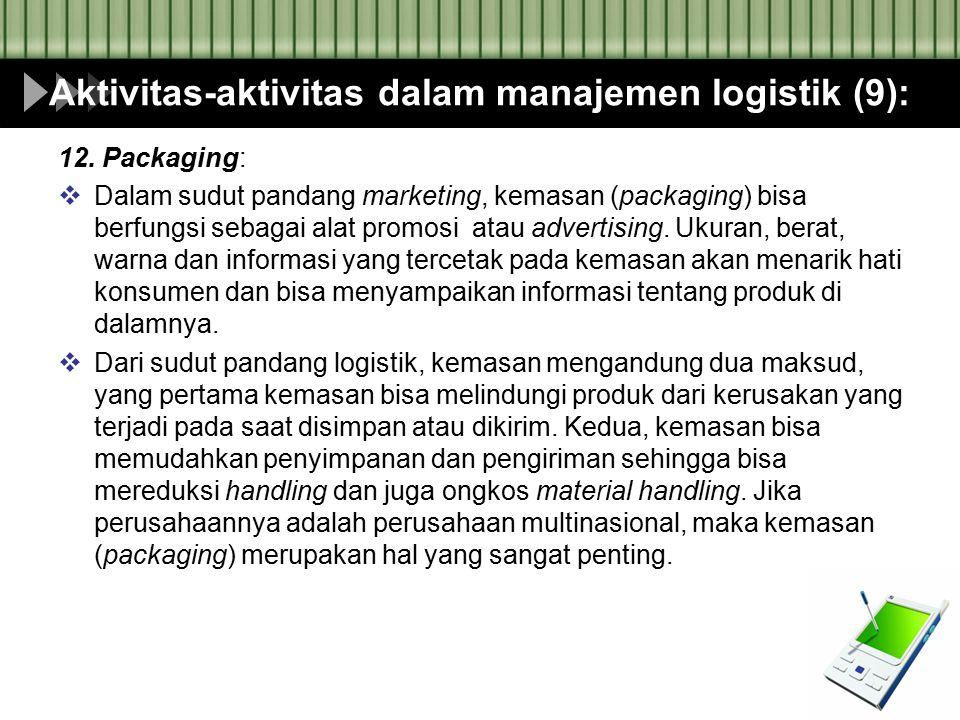 Aktivitas-aktivitas dalam manajemen logistik (9):