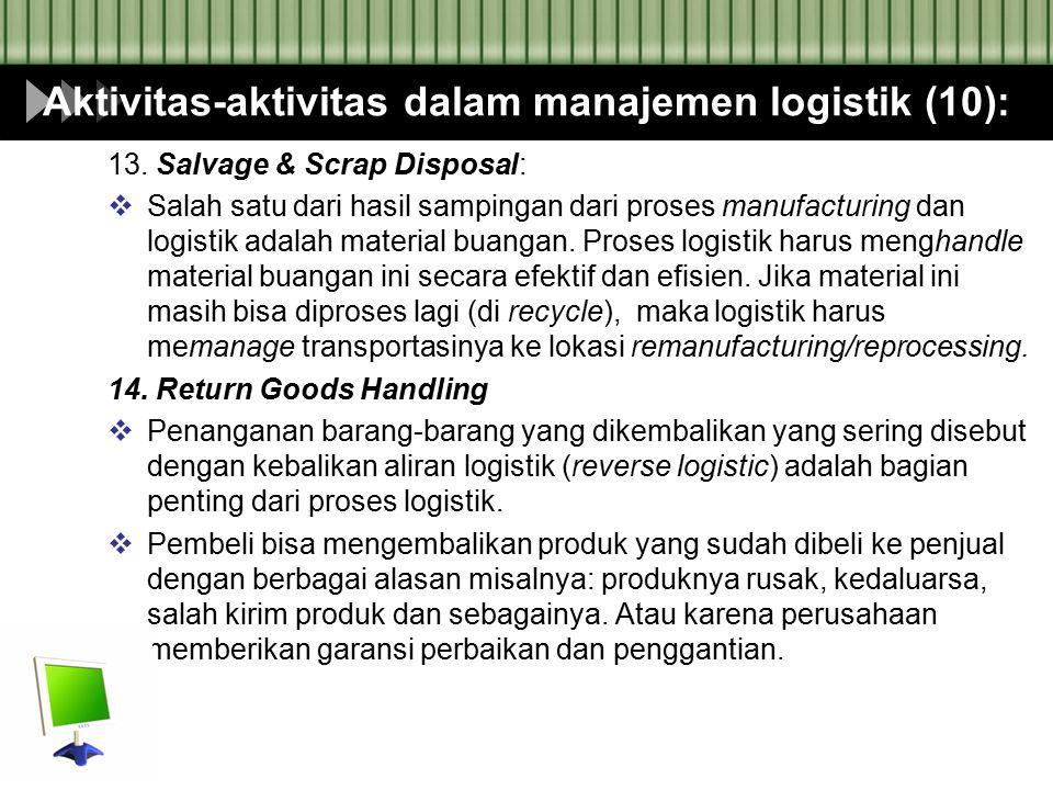 Aktivitas-aktivitas dalam manajemen logistik (10):