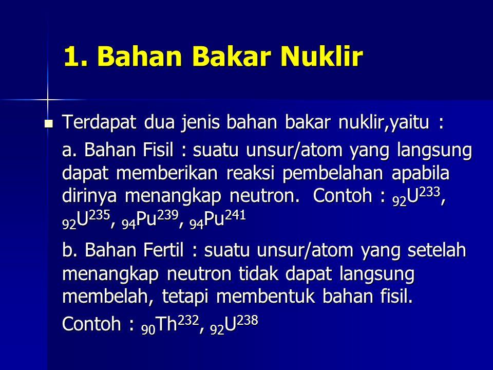 1. Bahan Bakar Nuklir Terdapat dua jenis bahan bakar nuklir,yaitu :