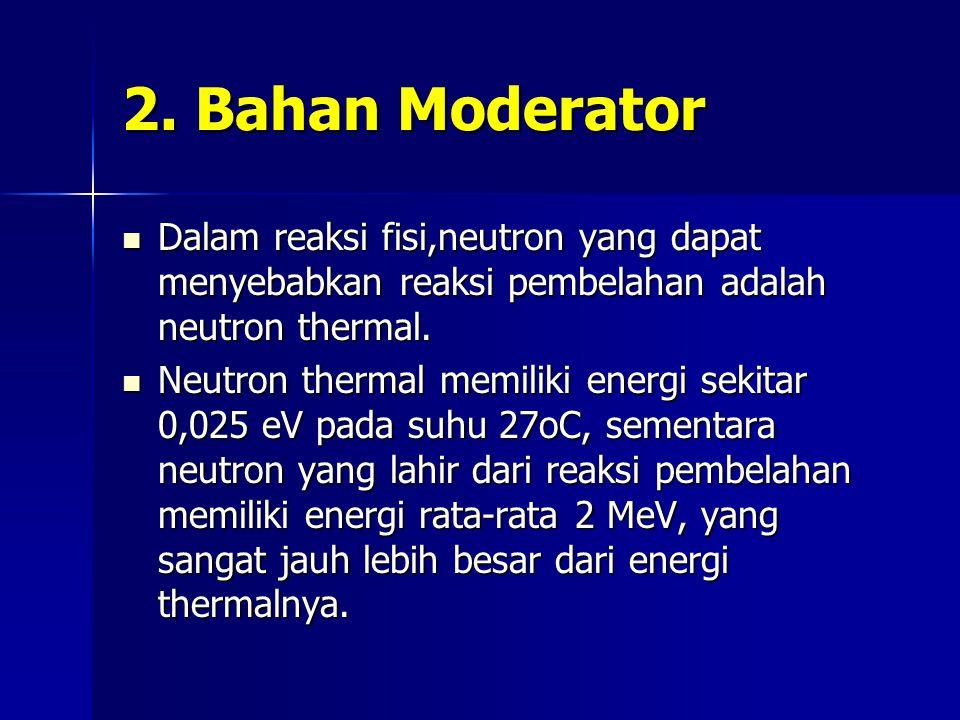 2. Bahan Moderator Dalam reaksi fisi,neutron yang dapat menyebabkan reaksi pembelahan adalah neutron thermal.