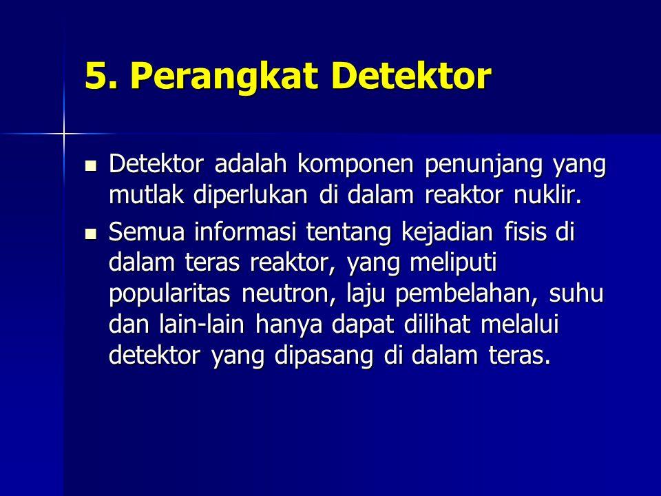 5. Perangkat Detektor Detektor adalah komponen penunjang yang mutlak diperlukan di dalam reaktor nuklir.