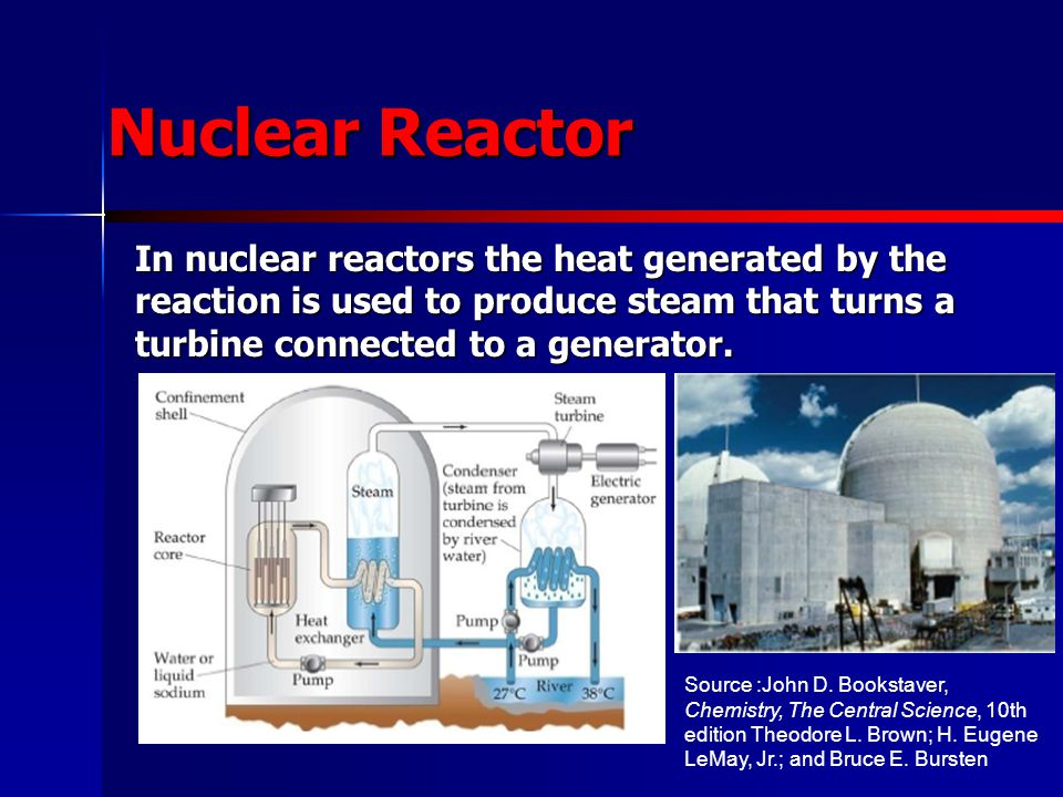 Nuclear Reactor In nuclear reactors the heat generated by the reaction is used to produce steam that turns a turbine connected to a generator.