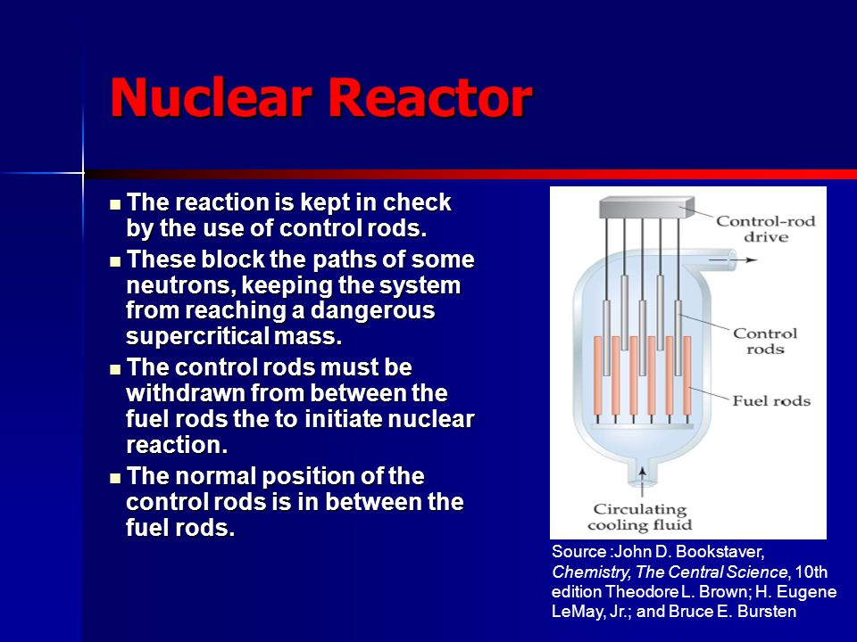 Nuclear Reactor The reaction is kept in check by the use of control rods.