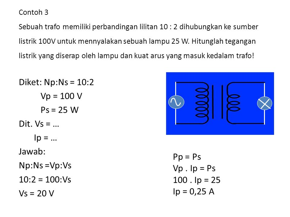 Diket: Np:Ns = 10:2 Vp = 100 V Ps = 25 W Dit. Vs = … Ip = … Jawab: