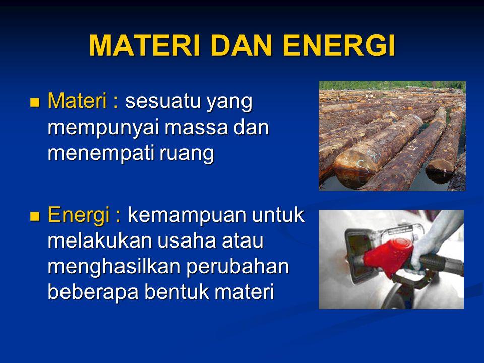 MATERI DAN ENERGI Materi : sesuatu yang mempunyai massa dan menempati ruang.