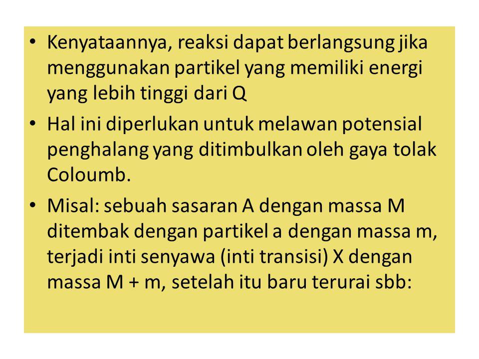 Kenyataannya, reaksi dapat berlangsung jika menggunakan partikel yang memiliki energi yang lebih tinggi dari Q