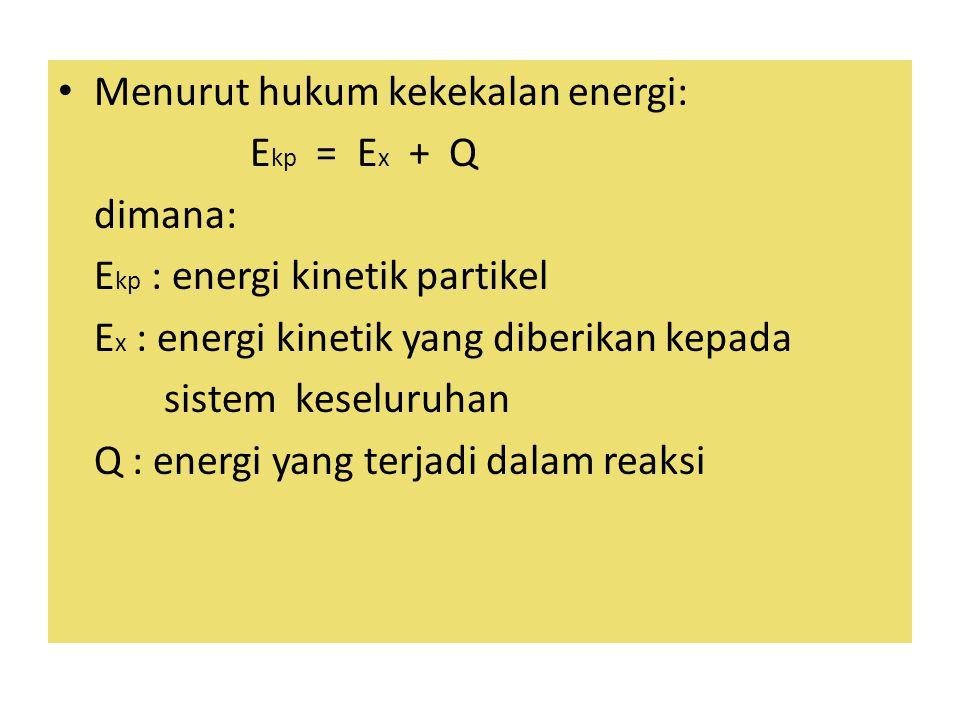 Menurut hukum kekekalan energi: