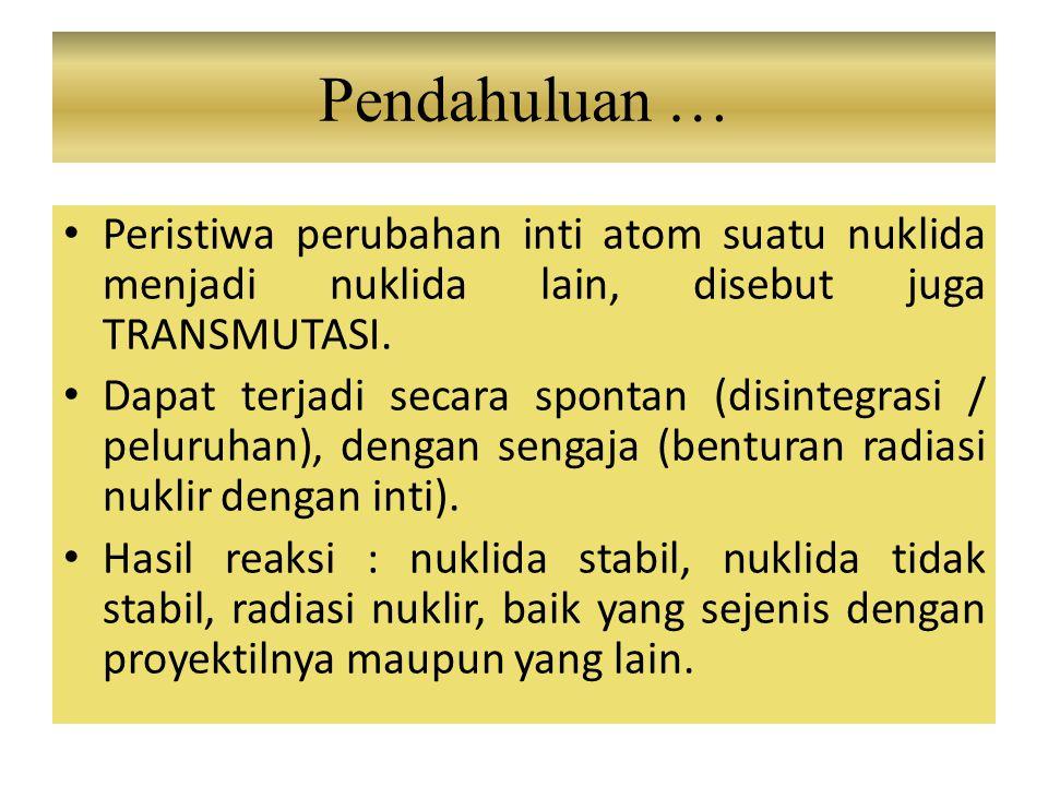Pendahuluan … Peristiwa perubahan inti atom suatu nuklida menjadi nuklida lain, disebut juga TRANSMUTASI.