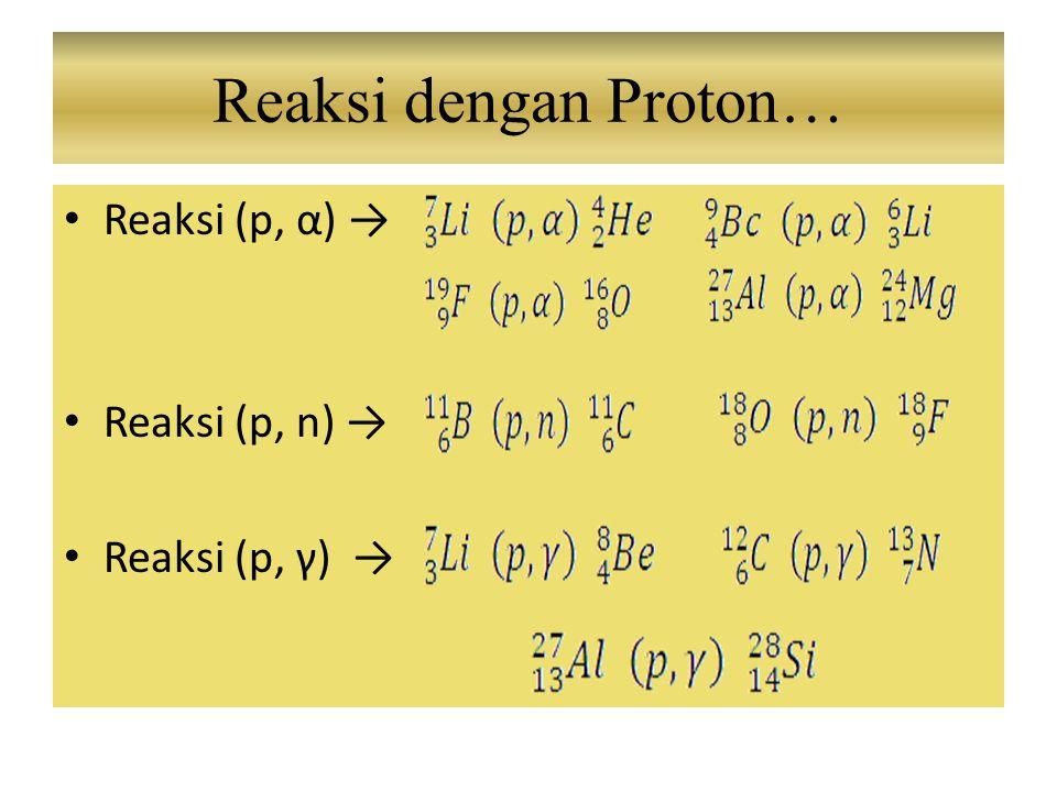 Reaksi dengan Proton… Reaksi (p, α) → Reaksi (p, n) → Reaksi (p, γ) →