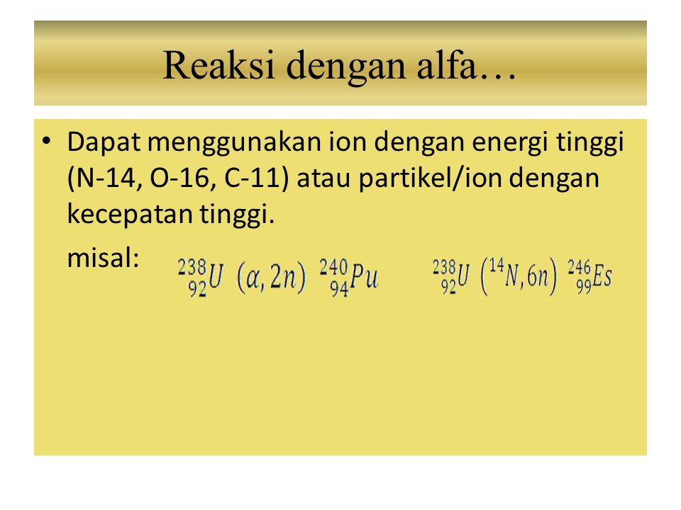 Reaksi dengan alfa… Dapat menggunakan ion dengan energi tinggi (N-14, O-16, C-11) atau partikel/ion dengan kecepatan tinggi.