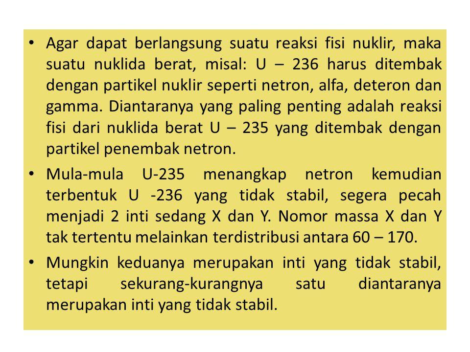 Agar dapat berlangsung suatu reaksi fisi nuklir, maka suatu nuklida berat, misal: U – 236 harus ditembak dengan partikel nuklir seperti netron, alfa, deteron dan gamma. Diantaranya yang paling penting adalah reaksi fisi dari nuklida berat U – 235 yang ditembak dengan partikel penembak netron.