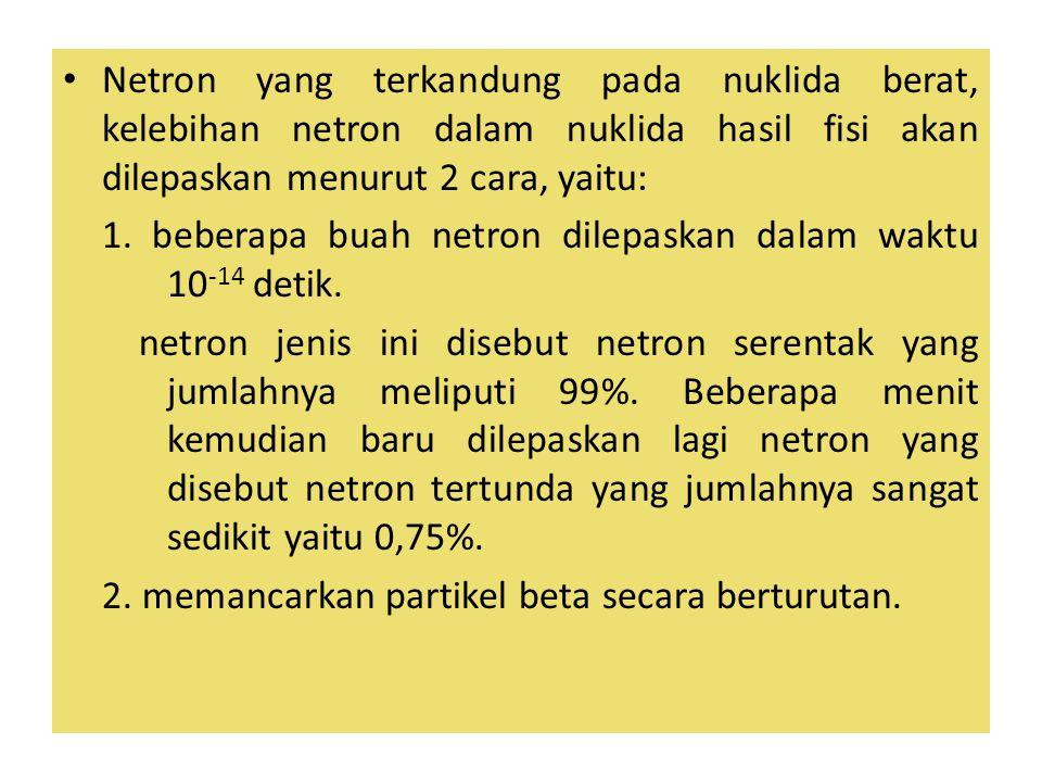 Netron yang terkandung pada nuklida berat, kelebihan netron dalam nuklida hasil fisi akan dilepaskan menurut 2 cara, yaitu: