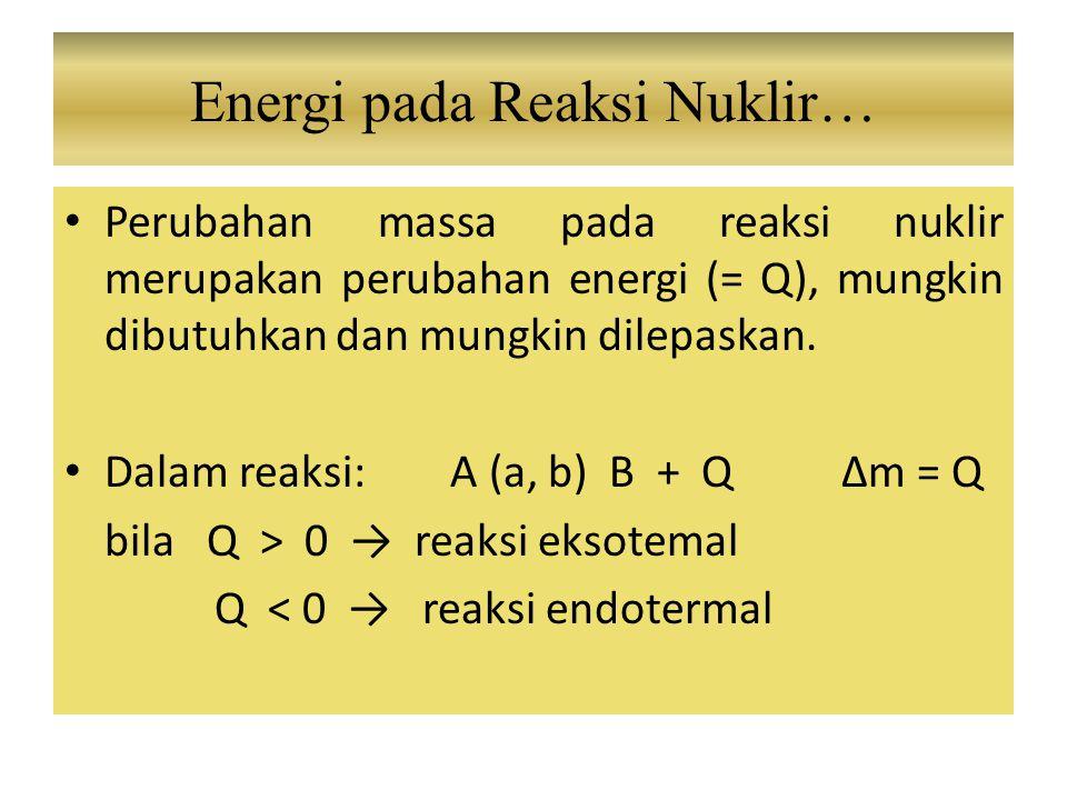 Energi pada Reaksi Nuklir…