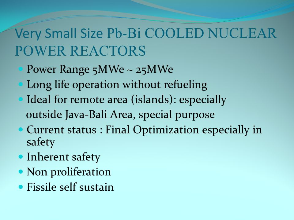 Very Small Size Pb-Bi COOLED NUCLEAR POWER REACTORS