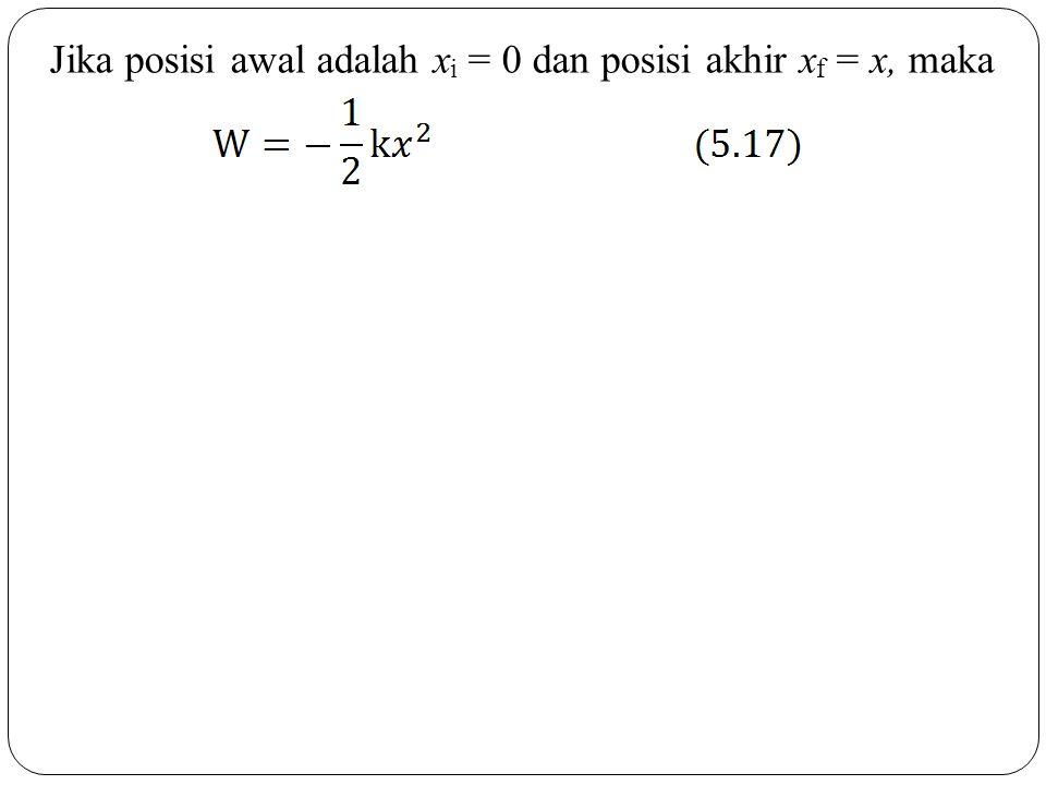 Jika posisi awal adalah xi = 0 dan posisi akhir xf = x, maka