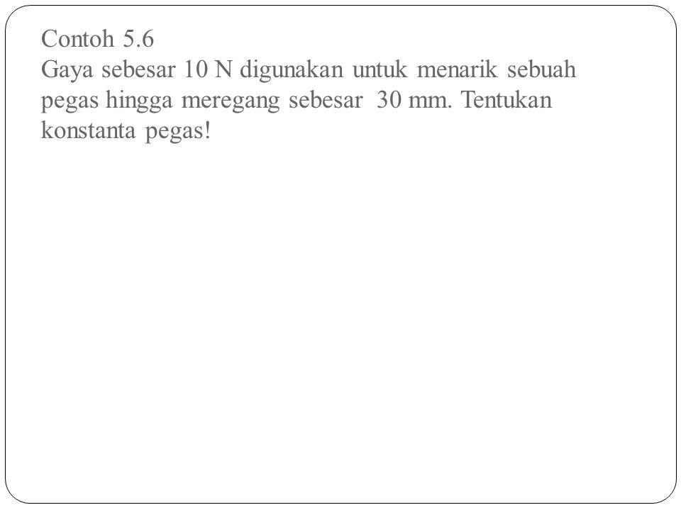 Contoh 5.6 Gaya sebesar 10 N digunakan untuk menarik sebuah pegas hingga meregang sebesar 30 mm.