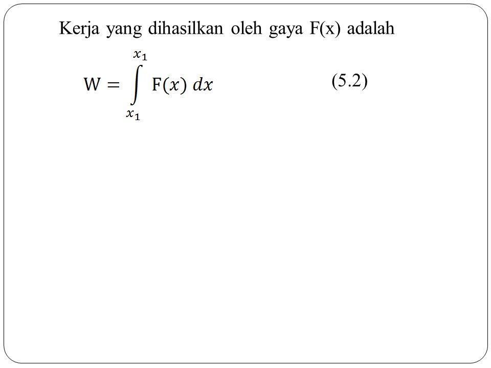 Kerja yang dihasilkan oleh gaya F(x) adalah