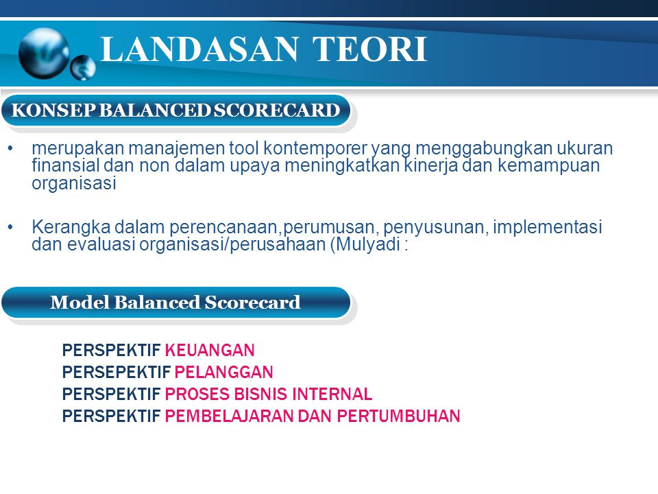 KONSEP BALANCED SCORECARD Model Balanced Scorecard