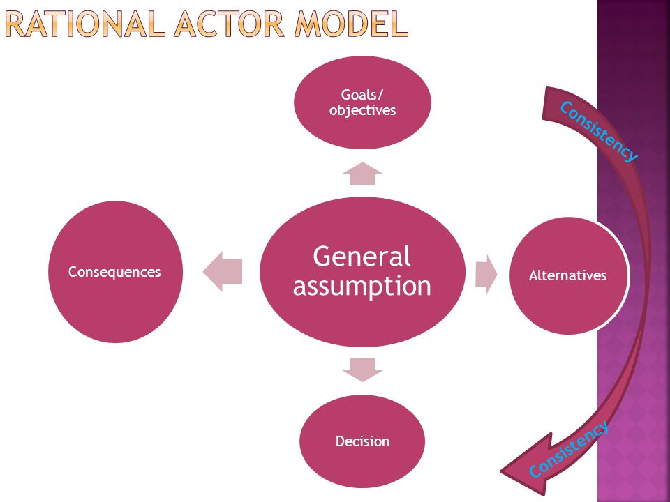 RATIONAL ACTOR MODEL Consistency Consistency Skema mengenai RAM: