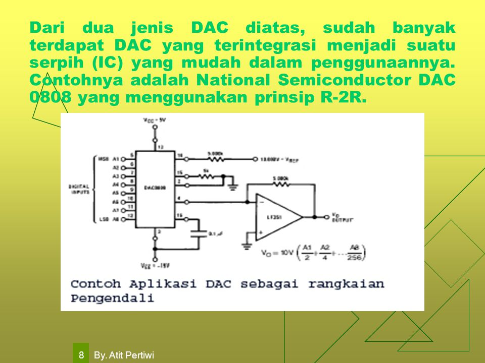 Dari dua jenis DAC diatas, sudah banyak terdapat DAC yang terintegrasi menjadi suatu serpih (IC) yang mudah dalam penggunaannya. Contohnya adalah National Semiconductor DAC 0808 yang menggunakan prinsip R-2R.