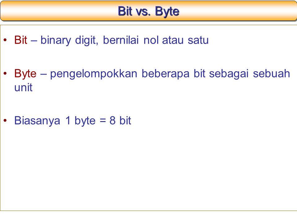 Bit vs. Byte Bit – binary digit, bernilai nol atau satu