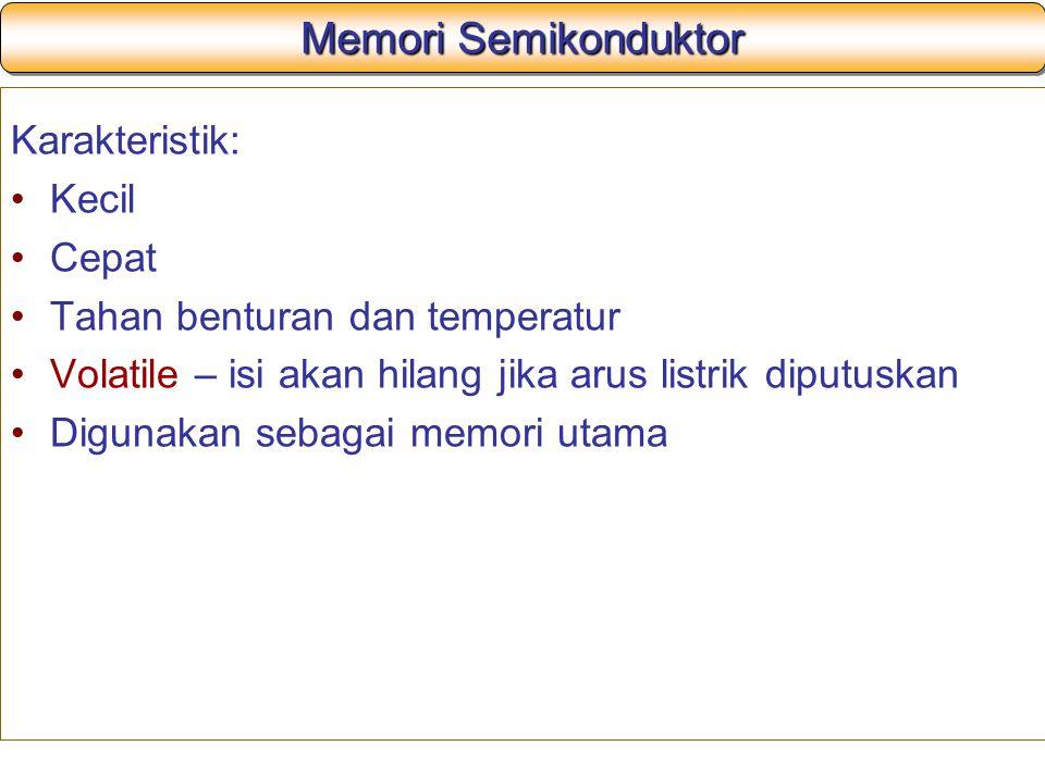 Memori Semikonduktor Karakteristik: Kecil Cepat