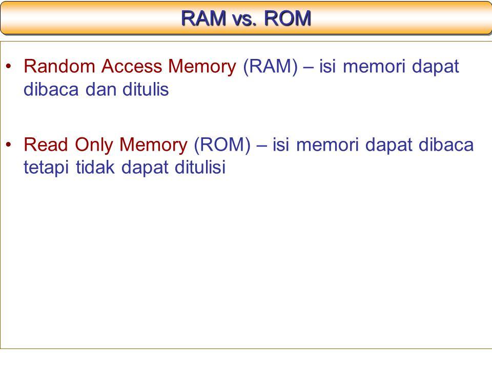 RAM vs. ROM Random Access Memory (RAM) – isi memori dapat dibaca dan ditulis.