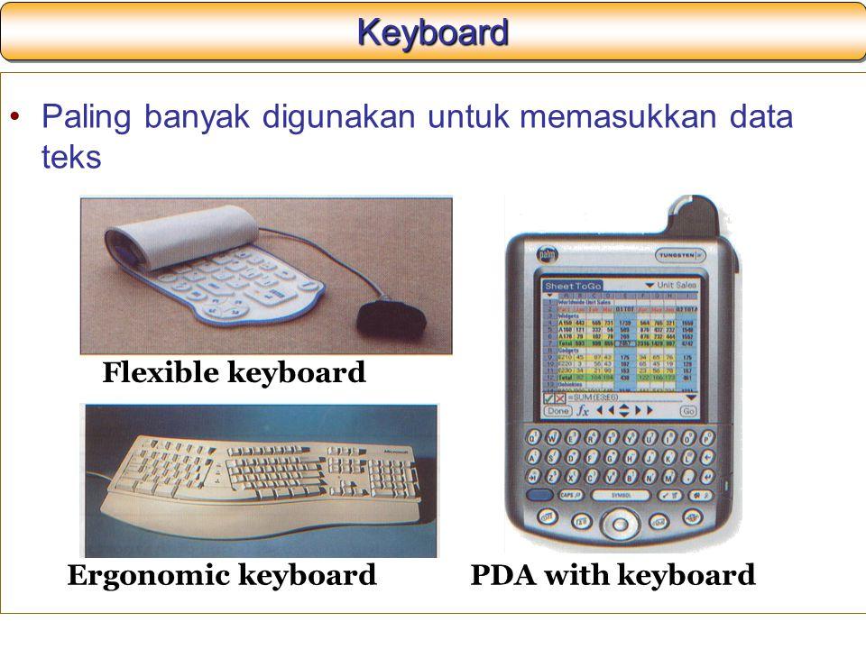 Keyboard Paling banyak digunakan untuk memasukkan data teks