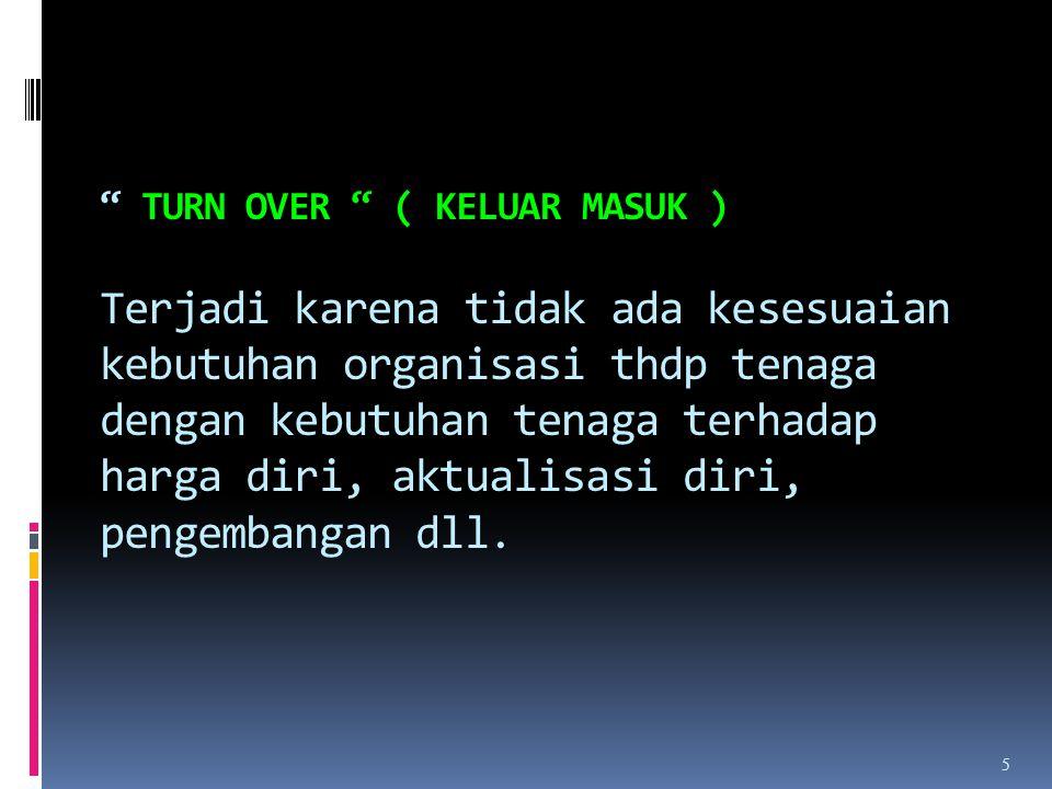 Turn Over ( keluar masuk ) Terjadi karena tidak ada kesesuaian kebutuhan organisasi thdp tenaga dengan kebutuhan tenaga terhadap harga diri, aktualisasi diri, pengembangan dll.