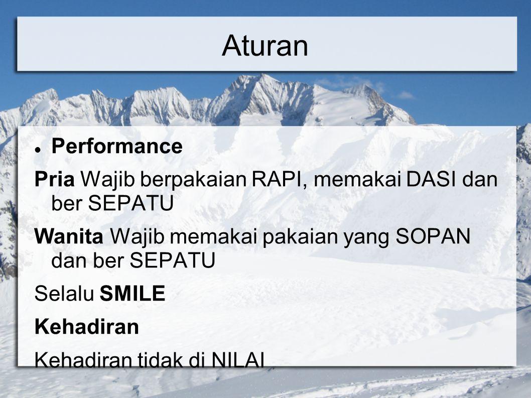 Aturan Performance. Pria Wajib berpakaian RAPI, memakai DASI dan ber SEPATU. Wanita Wajib memakai pakaian yang SOPAN dan ber SEPATU.