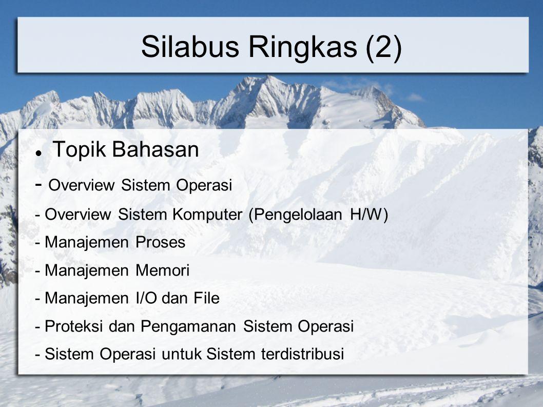 Silabus Ringkas (2) Topik Bahasan - Overview Sistem Operasi