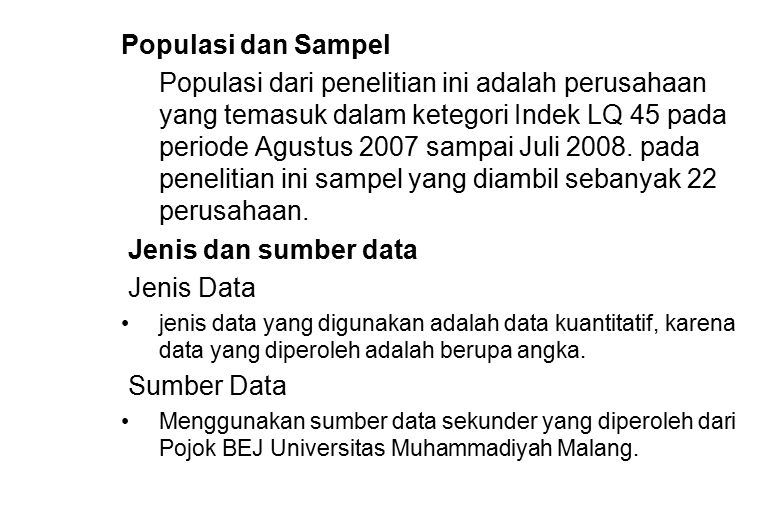 Populasi dan Sampel Jenis dan sumber data Jenis Data Sumber Data