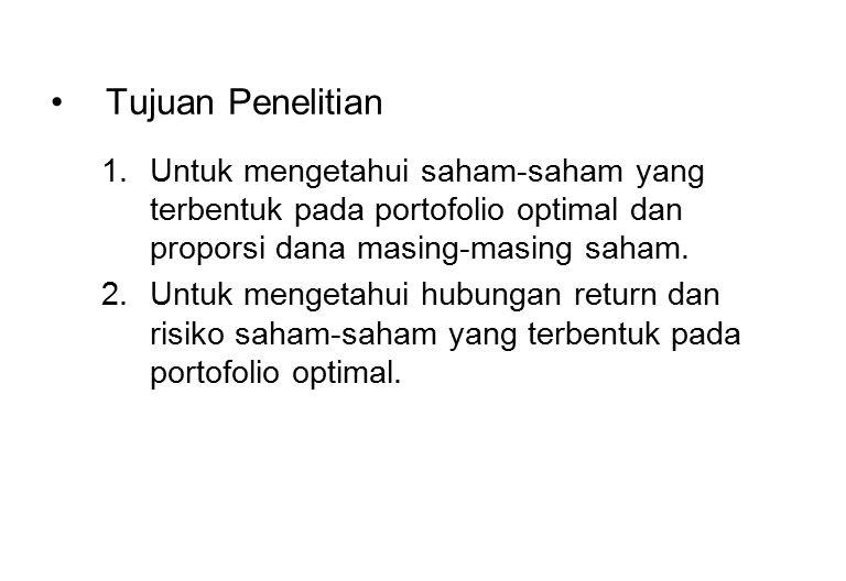 Tujuan Penelitian Untuk mengetahui saham-saham yang terbentuk pada portofolio optimal dan proporsi dana masing-masing saham.