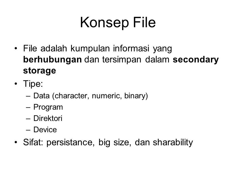 Konsep File File adalah kumpulan informasi yang berhubungan dan tersimpan dalam secondary storage. Tipe: