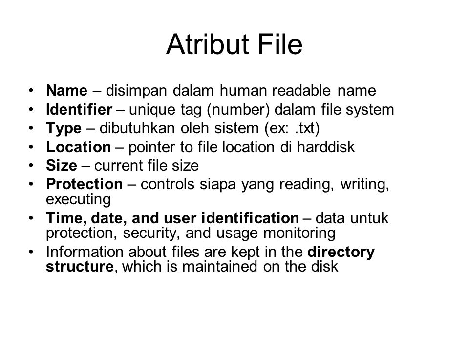 Atribut File Name – disimpan dalam human readable name