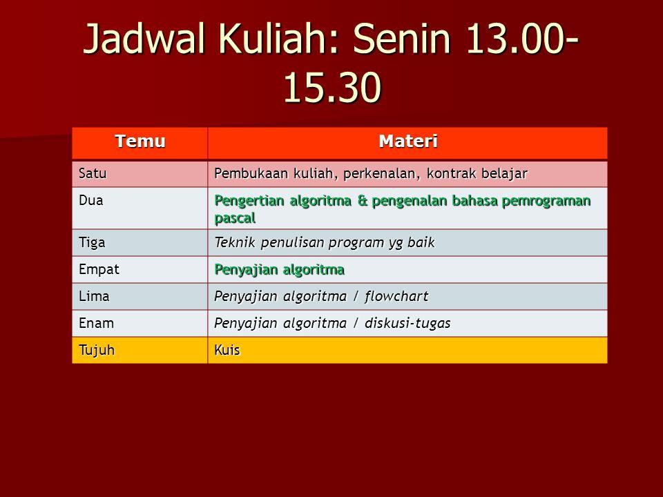 Jadwal Kuliah: Senin 13.00-15.30 Temu Materi Satu