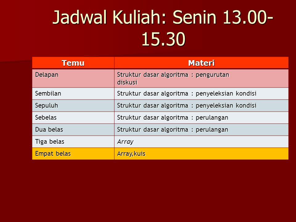 Jadwal Kuliah: Senin 13.00-15.30 Temu Materi Delapan