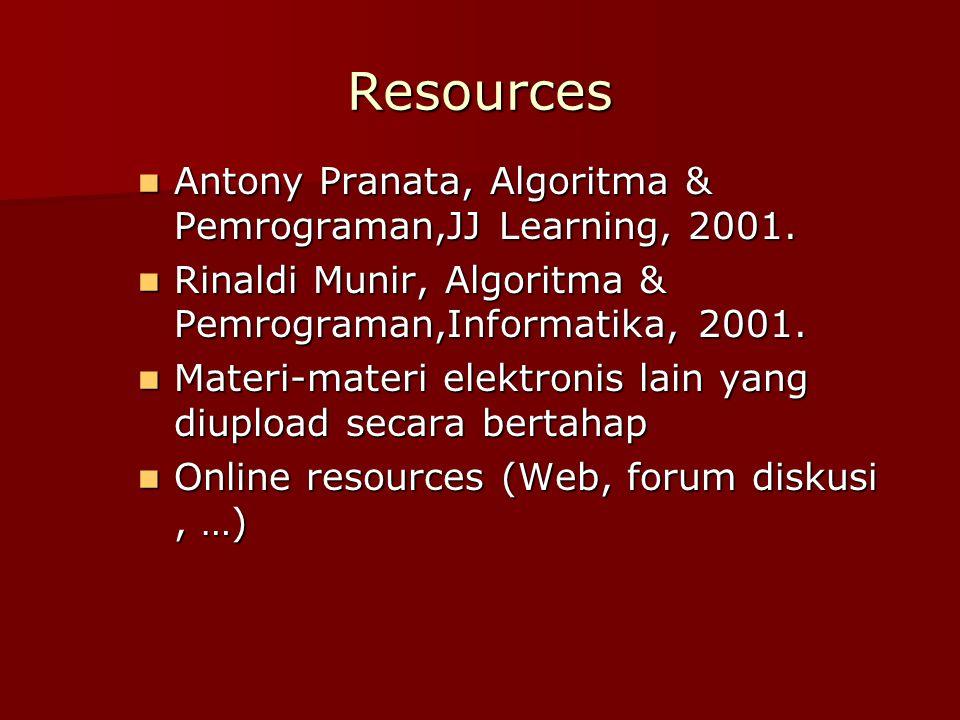 Resources Antony Pranata, Algoritma & Pemrograman,JJ Learning, 2001.