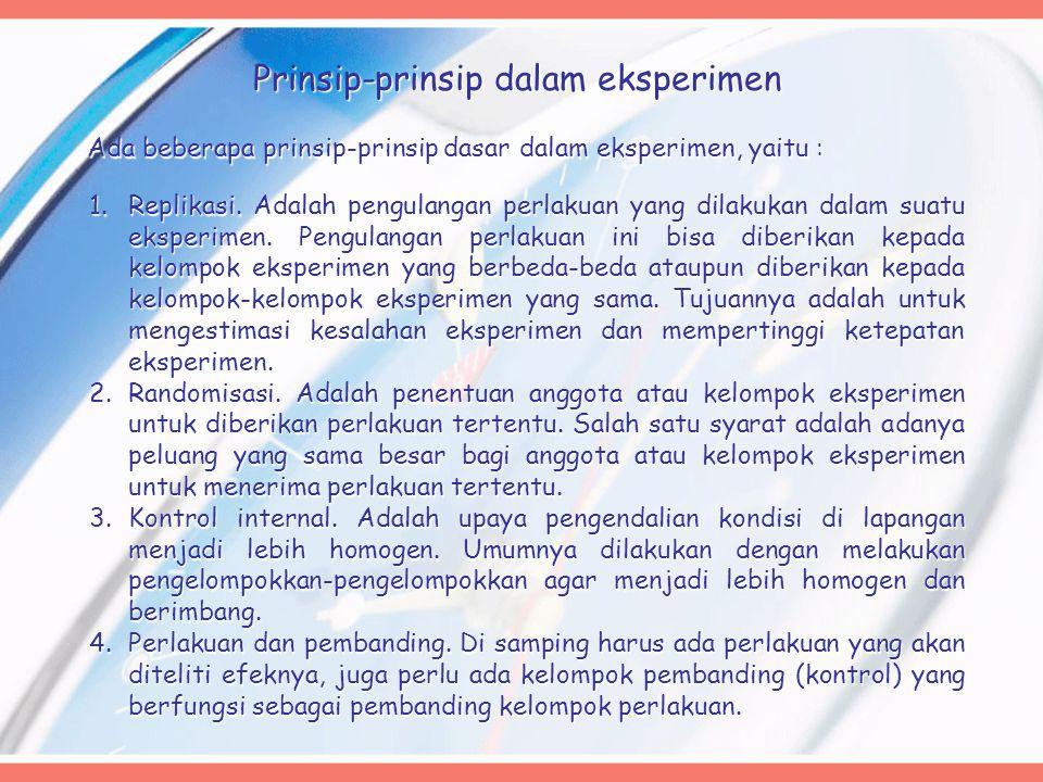 Prinsip-prinsip dalam eksperimen