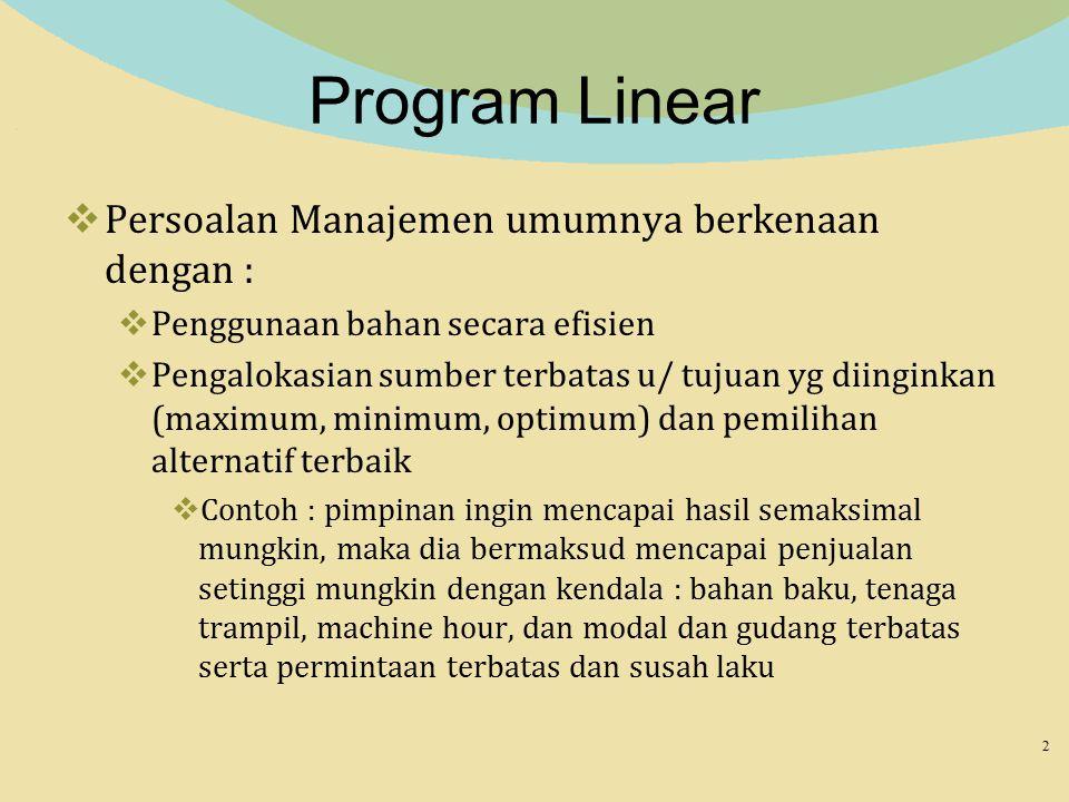 Program Linear Persoalan Manajemen umumnya berkenaan dengan :