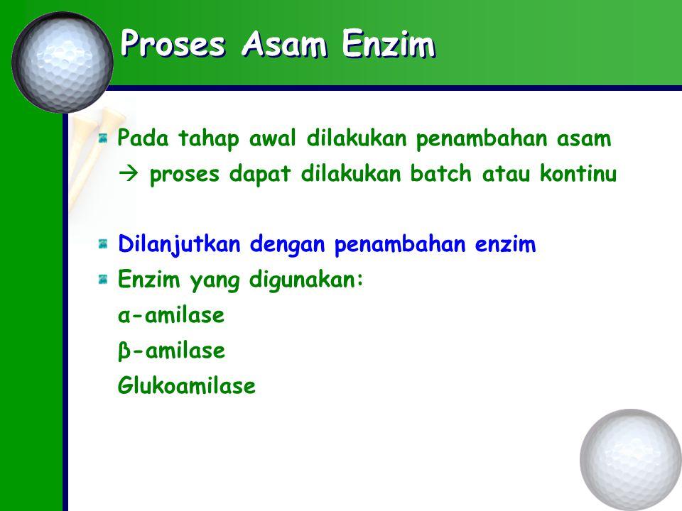 Proses Asam Enzim Pada tahap awal dilakukan penambahan asam
