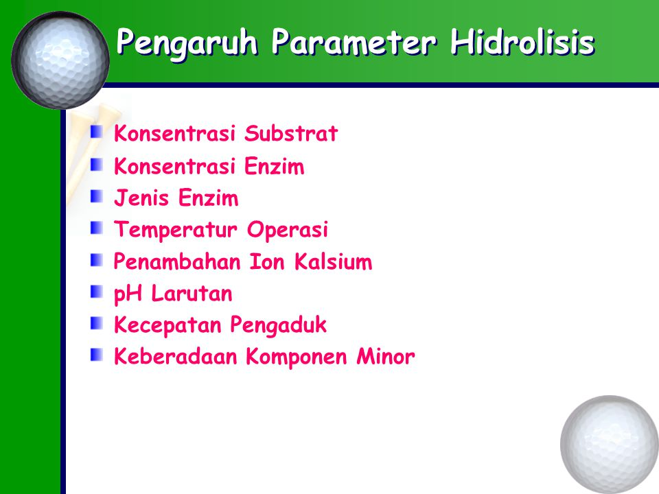 Pengaruh Parameter Hidrolisis