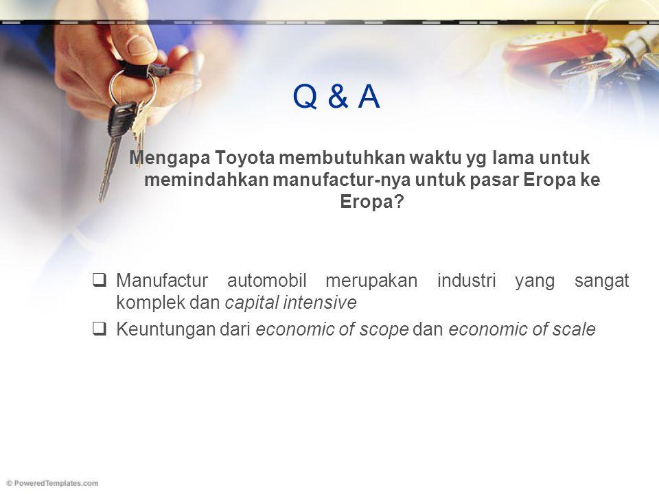 Q & A Mengapa Toyota membutuhkan waktu yg lama untuk memindahkan manufactur-nya untuk pasar Eropa ke Eropa