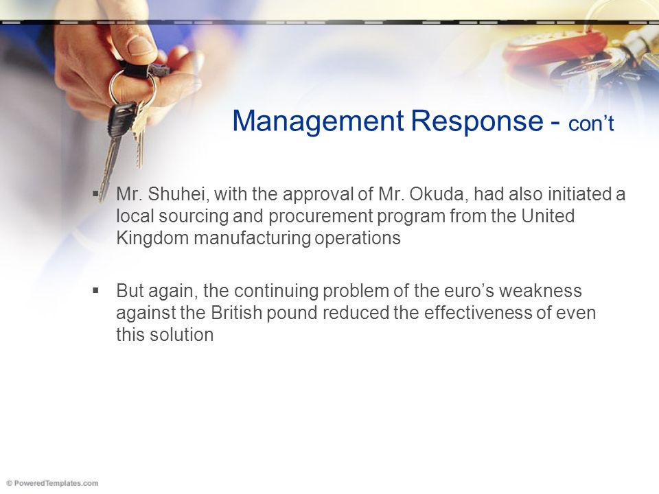 Management Response - con't