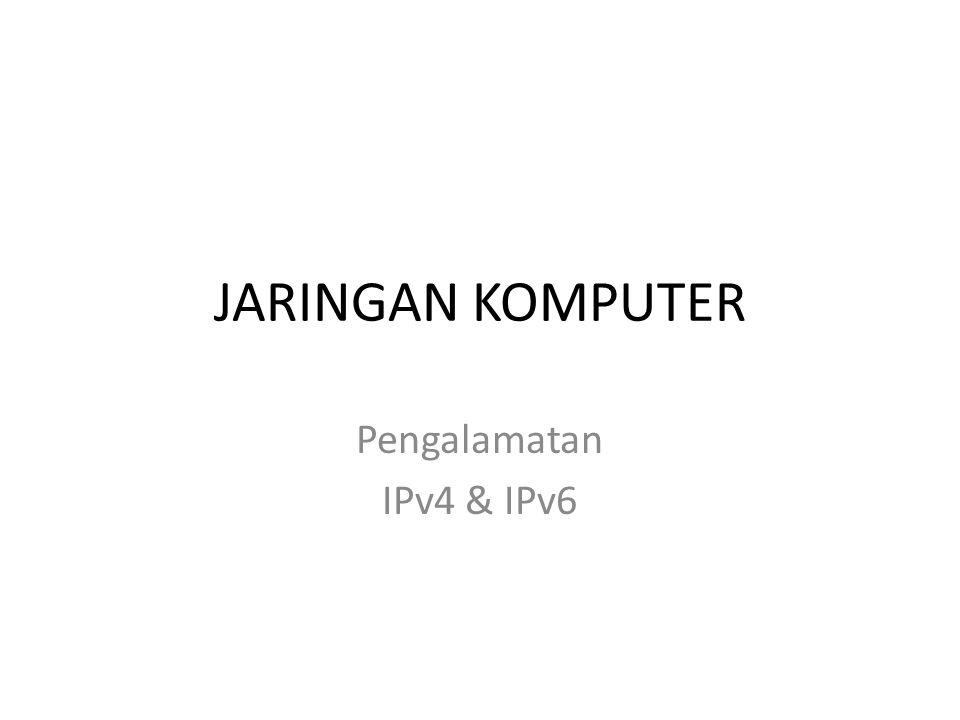 JARINGAN KOMPUTER Pengalamatan IPv4 & IPv6 Rujianto Eko Saputro
