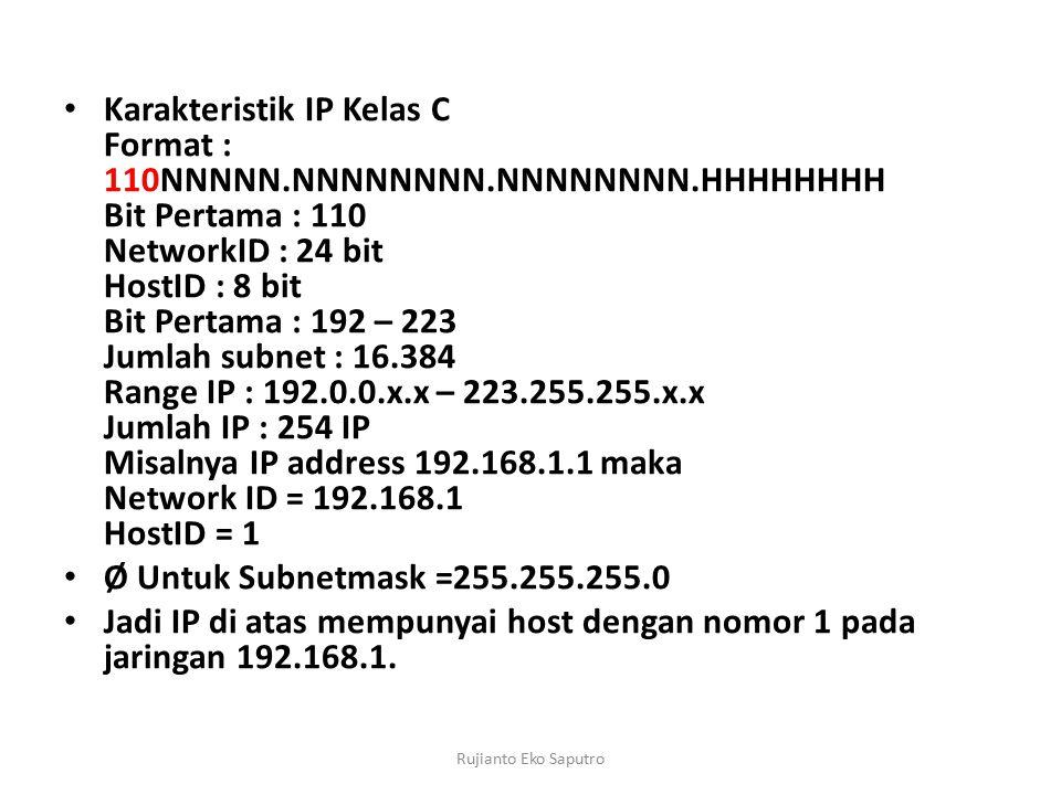 Jadi IP di atas mempunyai host dengan nomor 1 pada jaringan 192.168.1.