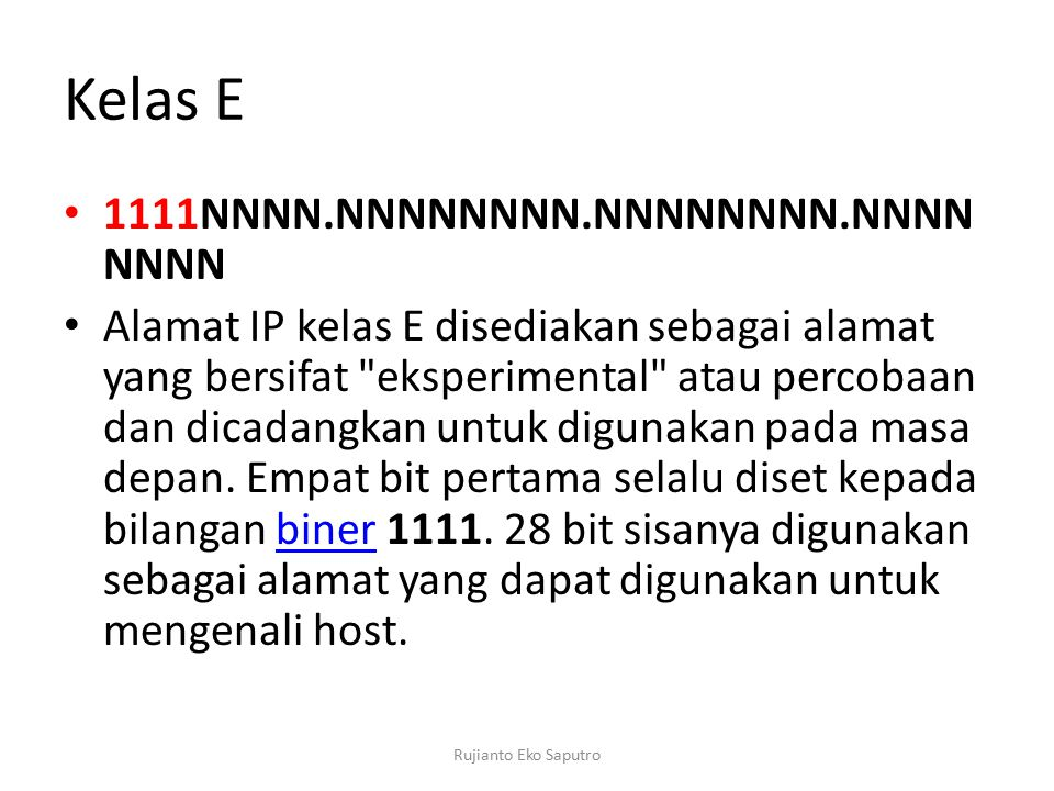 Kelas E 1111NNNN.NNNNNNNN.NNNNNNNN.NNNNNNNN