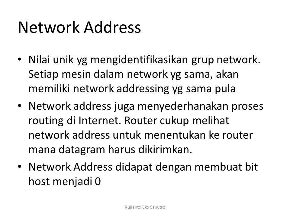 Network Address Nilai unik yg mengidentifikasikan grup network. Setiap mesin dalam network yg sama, akan memiliki network addressing yg sama pula.