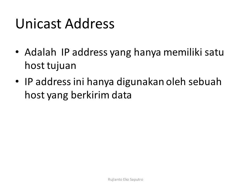 Unicast Address Adalah IP address yang hanya memiliki satu host tujuan